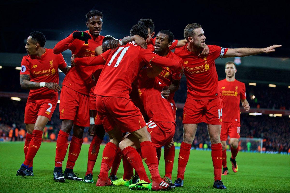 bucurie gol jucători Liverpool