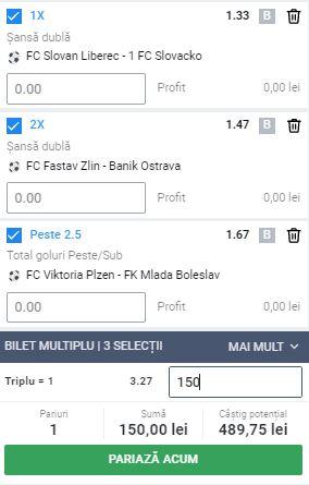 Biletul cu fotbal din Cehia, 30 mai 2020. Cotă 3,27 din 3 meciuri