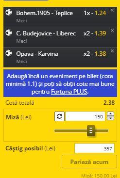 Biletul cu fotbal din Cehia, 27 mai 2020. Cotă 2,38 din 3 ponturi pariuri