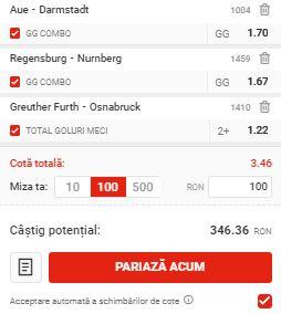 Biletul pe goluri din 26 mai 2020. Cotă 3,46 din trei meciuri
