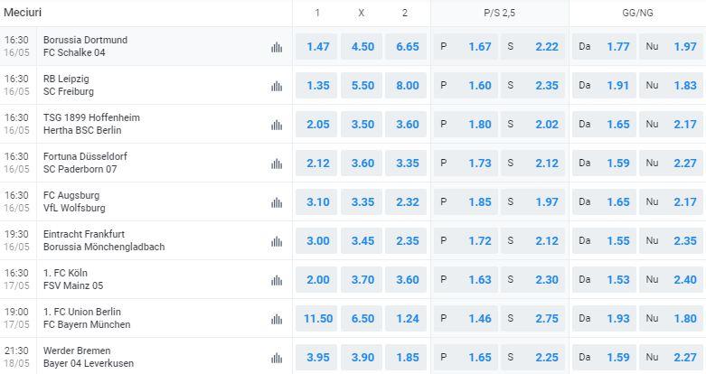 Se reiau Bundesliga și Bundesliga 2 din 16 mai. Cote și ponturi pentru etapa a 26-a