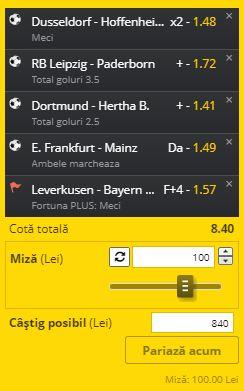 Biletul cu Bundesliga din 6 iunie 2020. Aici ai cotele profitabile