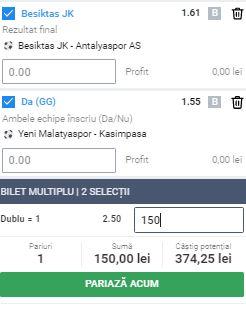 Biletul cu fotbal din Turcia, 13 iunie 2020. Ne dublăm banii cu două ponturi
