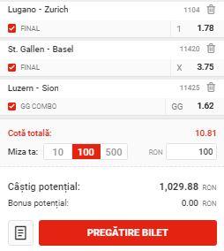 Biletul de cota 10.00 din 22 iulie 2020. Profit cu 3 ponturi din Elveţia