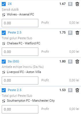 Bilet cu fotbal din Premier League, 4 iulie 2020. Profit însemnat cu 4 ponturi