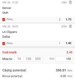 Biletul cu baschet din 25 august 2020. Cotă 2,45 din NBA