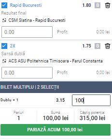 Bilet Liga 2, etapa a 3-a. Bani triplați cu Rapid și Farul Constanța