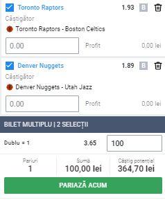 Biletul cu baschet din 1 septembrie 2020. Două ponturi din NBA aduc profit