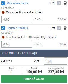 Biletul cu baschet, 2 septembrie 2020. Cotă 2,33 din NBA