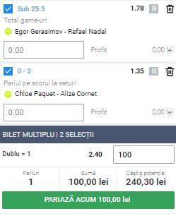 Biletul cu tenis din 28 septembrie 2020. Profit de la Roland Garos