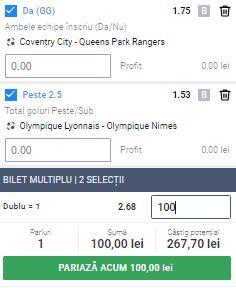 Biletul pe goluri din 18 septembrie 2020. Două meciuri pentru profit