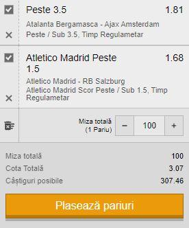 Biletul pe goluri, 27 octombrie 2020. Facem profit cu Atalanta - Ajax și Atletico - Salzburg
