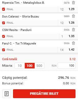 """Bilet cu fotbal din Liga 2, etapa a 8-a. Patru ponturi """"safe"""" pentru profit"""