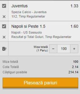 Bilet Serie A. Duminică pariem pe Juventus și Napoli pentru profit