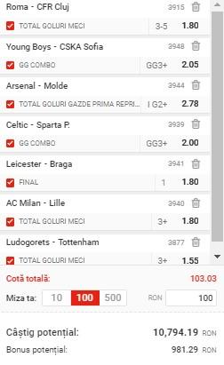 Bilet de cotă 100 din Europa League. 7 selecții pot aduce peste 10.000 de lei câștig