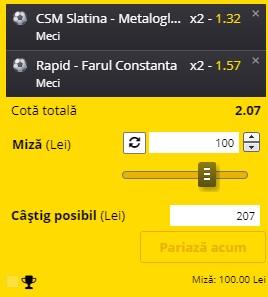 Bilet Liga 2: Super pariu la Rapid - Farul, derby-ul etapei a 12-a