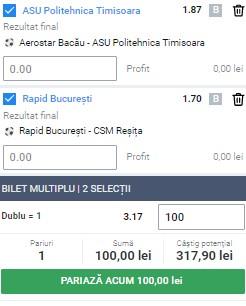 Bilet Liga 2, etapa a 14-a. ASU Politehnica Timișoara și Rapid ne aduc profit