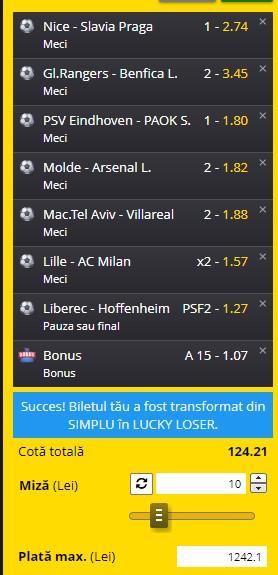 Biletul de cotă 100 din Europa League. Profit imens cu 7 ponturi