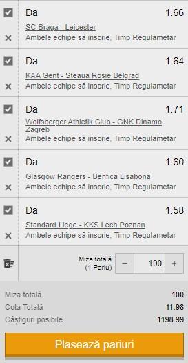 Bilet cota 10,00 din 26 noiembrie 2020. 5 ponturi din Europa League pentru profit