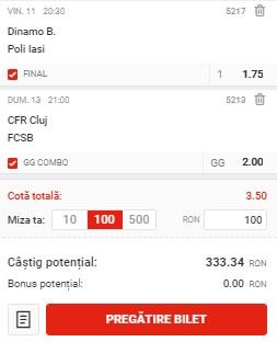 Bilet Liga 1, etapa a 13-a. Facem profit cu FCSB, CFR Cluj și Dinamo