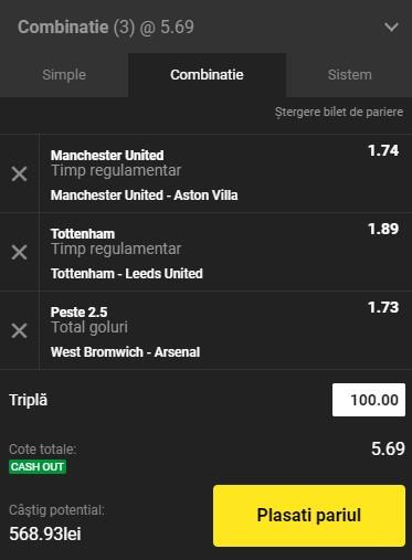 Bilet Premier League, etapa a 17-a. Pariem United, Tottenham și Arsenal pentru o cotă de 5,69