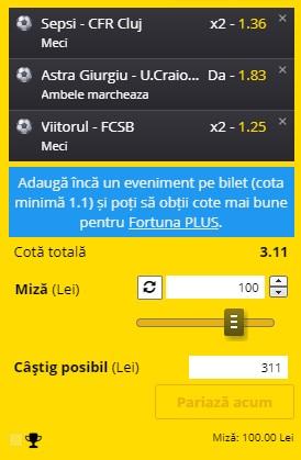 Bilet Liga 1, etapa a 17-a. CFR Cluj, U Craiova și FCSB ne aduc profit