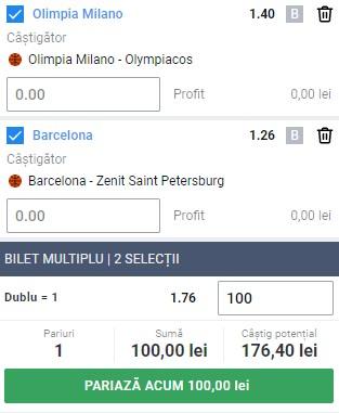 Bilet baschet, 26 ianuarie 2021. Facem bani cu două meciuri din Euroligă