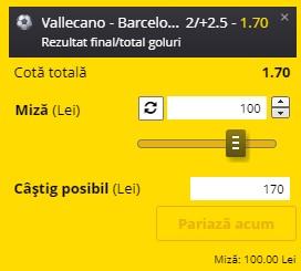Ponturi pariuri Rayo Vallecano - Barcelona, 27 ianuarie 2021. Cota profitabilă: 1,70