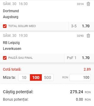 Bilet Bundesliga, 30 ianuarie 2021. Pariem pe cota 2,89