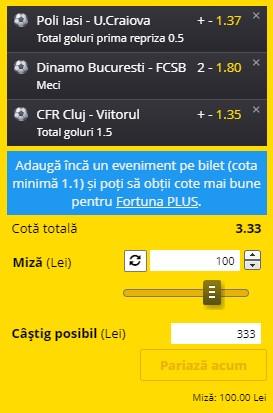 Bilet Liga 1, etapa 21. Pariem pe cota 3,33: Dinamo - FCSB, CFR Cluj - Viitorul și Iași - Craiova sunt selecțiile câștigătoare