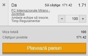Ponturi pariuri Inter - Juventus, 2 februarie 2021. Cota profitabilă: 1,72