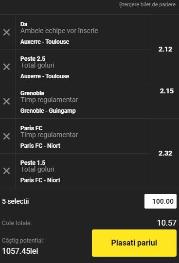 Bilet cota 10,00 din 2 februarie 2021. Trei ponturi din Ligue 2 pentru un câștig de peste 1.000 de lei