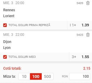 Biletul pe goluri din 3 februarie. Ne dublă banii cu Rennes - Lorient și Dijon - Lyon
