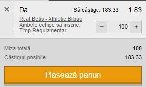 Pontul zilei din 4 februarie 2021. Facem bani cu Betis - Athletico Bilbao