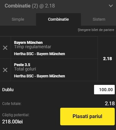 Ponturi pariuri Hertha - Bayern, 5 februarie 2021. Cota profitabilă: 2,18