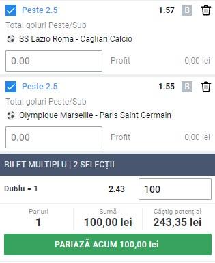 Biletul pe goluri din 7 februarie 2021. Facem profit pe Lazio - Cagliari și Marseille - PSG