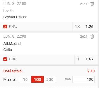 Biletul zilei din 8 februarie 2021. Profitul vine pe două super cote din Premier League și La Liga