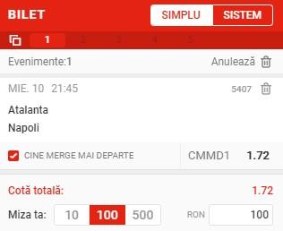 Ponturi pariuri Atalanta - Napoli, 10 februarie 2021. Cota profitabilă: 1,72