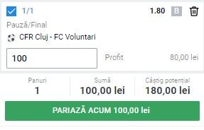 Ponturi pariuri CFR Cluj - FC Voluntari, 15 februarie 2021. Cota profitabilă: 1,80