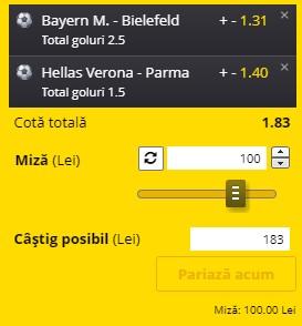 Biletul pe goluri din 15 februarie 2021. Profitul vine din Bundesliga și Serie A