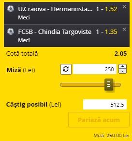 Bilet Liga 1 etapa 24. U.Craiova - Hermannstadt și FCSB - Chindia sunt selecțiile câștigătoare