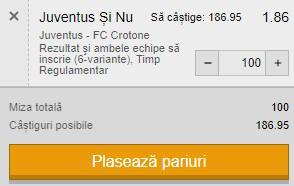 Ponturi pariuri Juventus - Crotone, 22 februarie 2021. Cota profitabilă: 1,86