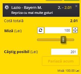 Ponturi pariuri Lazio - Bayern, 23 februarie 2021. Cota profitabilă: 2,01