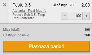 Ponturi pariuri Atalanta - Real Madrid, 24 februarie 2021. Cota profitabilă: 2,60