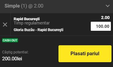 Ponturi pariuri Gloria Buzău - Rapid, 25 februarie 2021. Cota profitabilă: 2,00