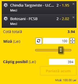 """Bilet Liga 1 etapa 25. Încercăm un nou """"VERDE"""" pe Chindia - U.Craiova și Botoșani - FCSB"""
