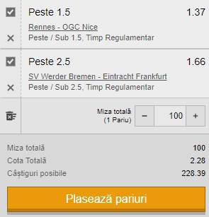 Biletul pe goluri din 26 februarie 2021. Rennes - Nice și Werder Bremen - Frankfurt ne dublează banii