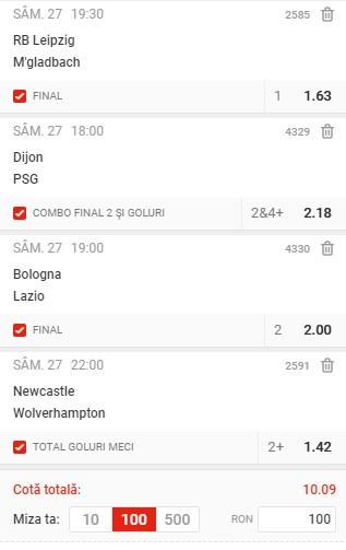 Biletul de cotă 10,00 din 27 februarie 2021. Favoritele și golurile ne aduc profit