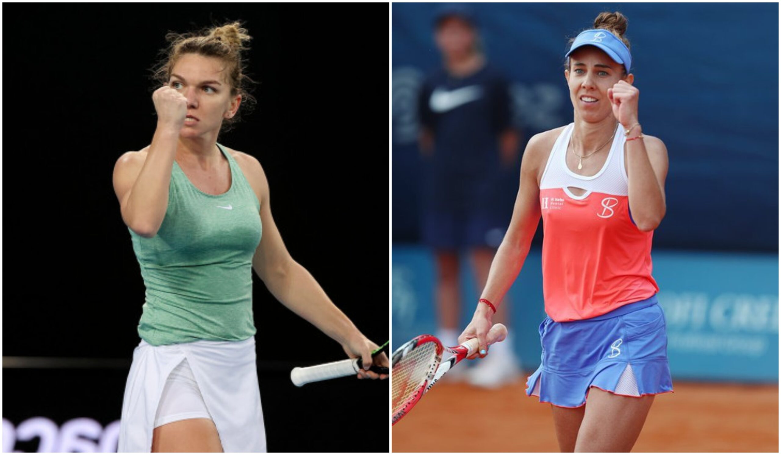 Simona Halep și Miki Buzărnescu, pe terenul de tenis
