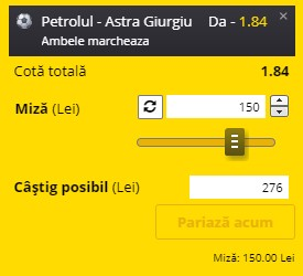 Ponturi pariuri Petrolul - Astra, 3 martie 2021. Cota profitabilă: 1,84